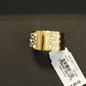 Michael Kors gold tone rhinestone ring